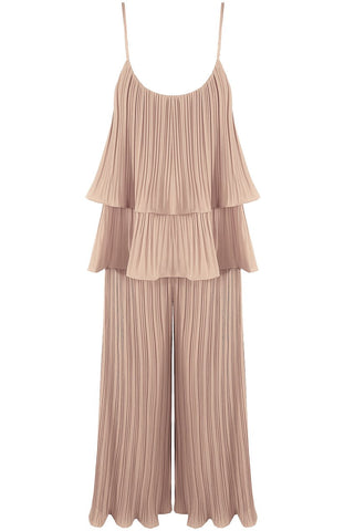 Beige Pleated Tier Cami Top Wide Leg Trouser Cord Set - Storm Desire