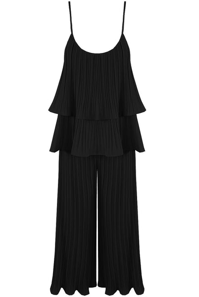 Black Pleated Tier Cami Top Wide Leg Trouser Cord Set - Storm Desire