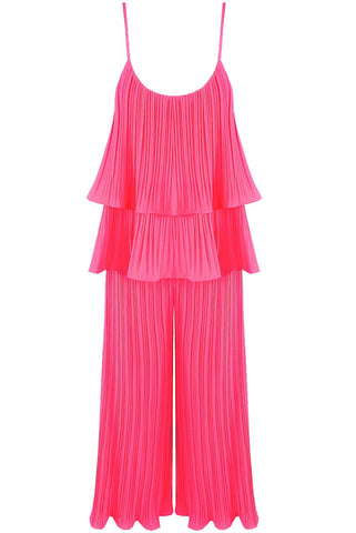 Pink Pleated Tier Cami Top Wide Leg Trouser Cord Set