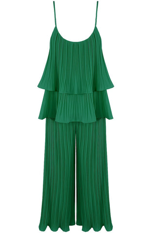 Green Pleated Tier Cami Top Wide Leg Trouser Cord Set - Storm Desire