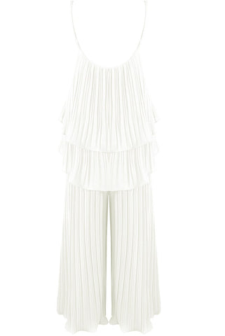 Cream Pleated Tier Cami Top Wide Leg Trouser Cord Set - Storm Desire