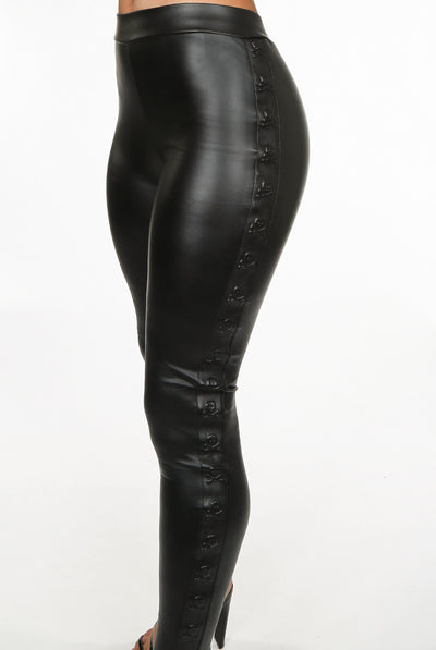 Black Skull Embossed PU Leggings - Amina