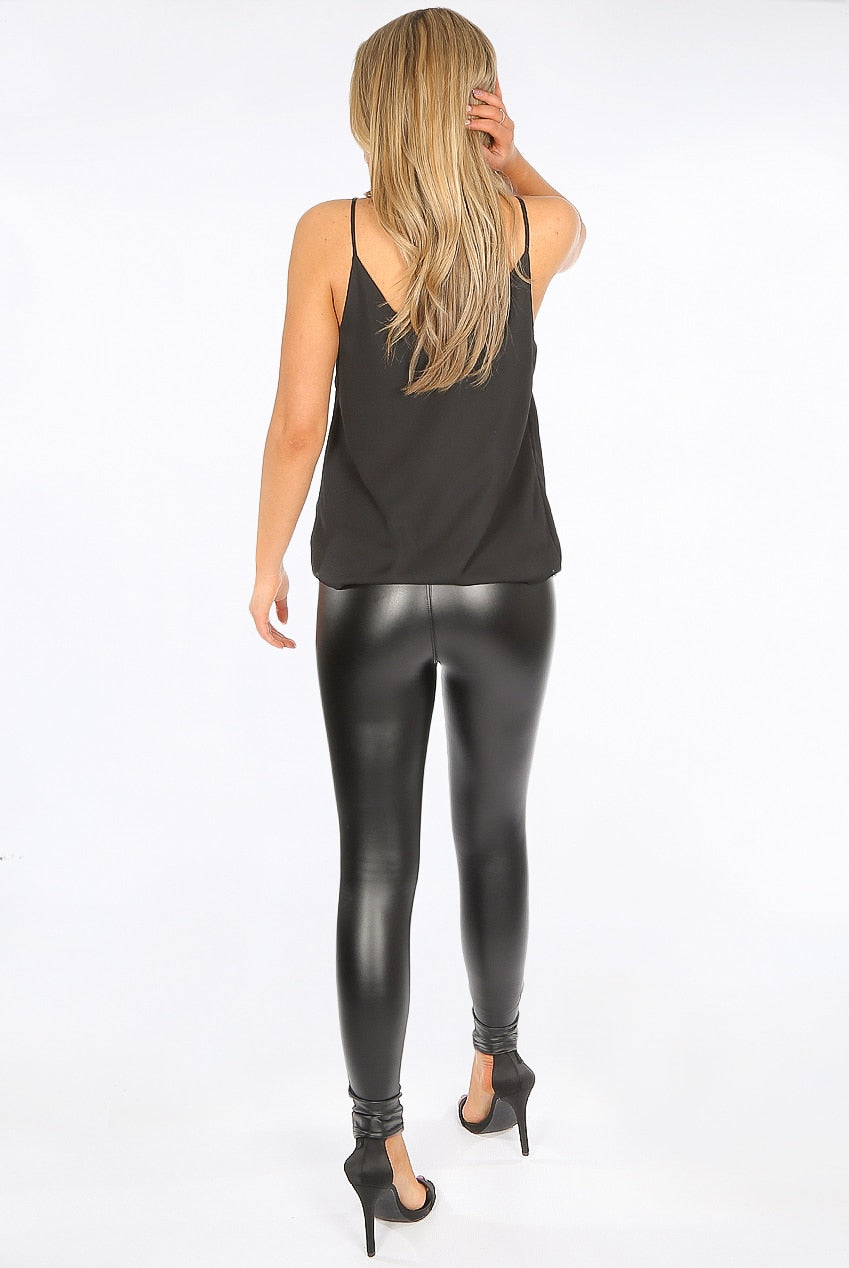 Black High Waist Black Sleek PU Matt Leggings - Livia - storm desire