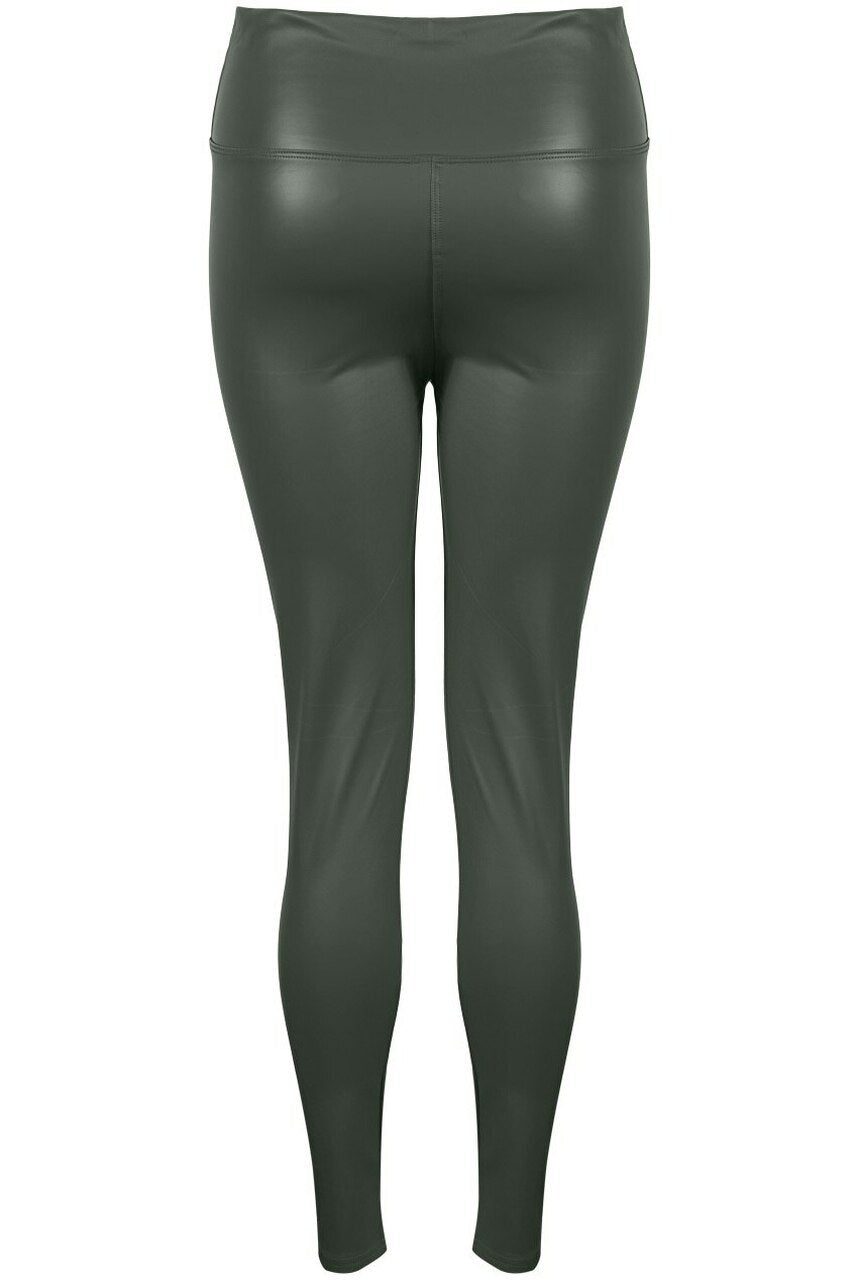 Khaki Green High Waist Black Sleek PU Matt Leggings - Livia