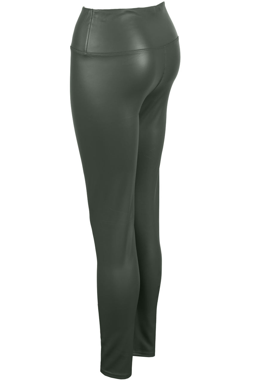 Grey High Waist Black Sleek PU Matt Leggings - Livia