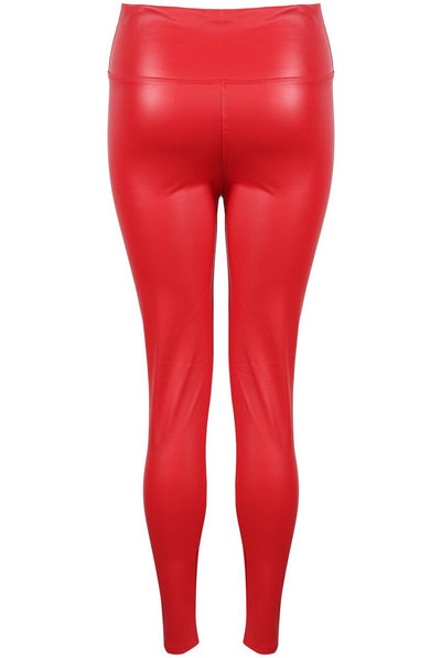 Red High Waist Black Sleek PU Matt Leggings - Livia