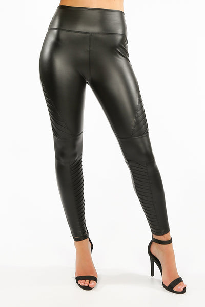 Black Matt Panel High Waist Pu Vinyl Leggings - Freya - storm desire