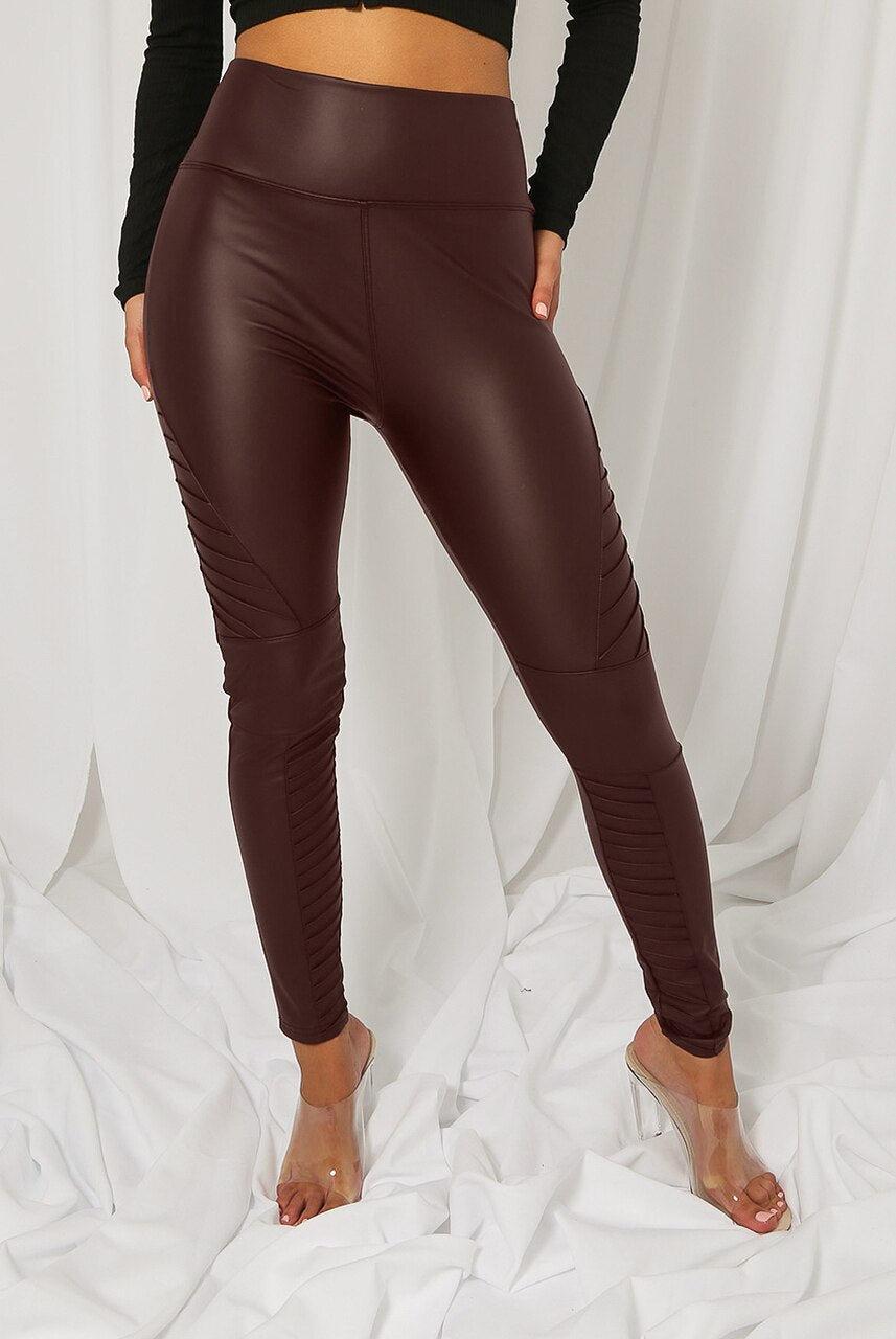Maroon Matt Panel Biker High Waisted Pu Leggings - Kayla