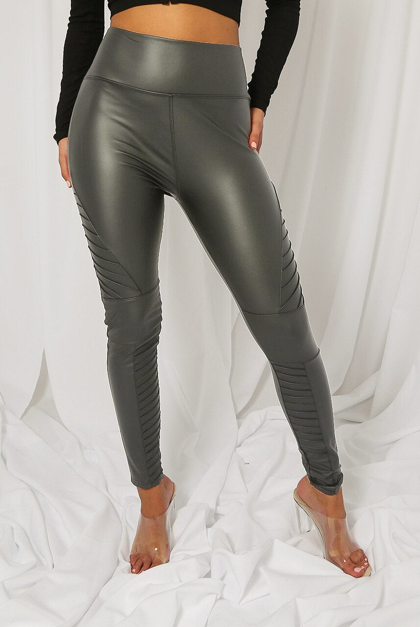 Grey Matt Panel Biker High Waisted Pu Leggings - Kayla