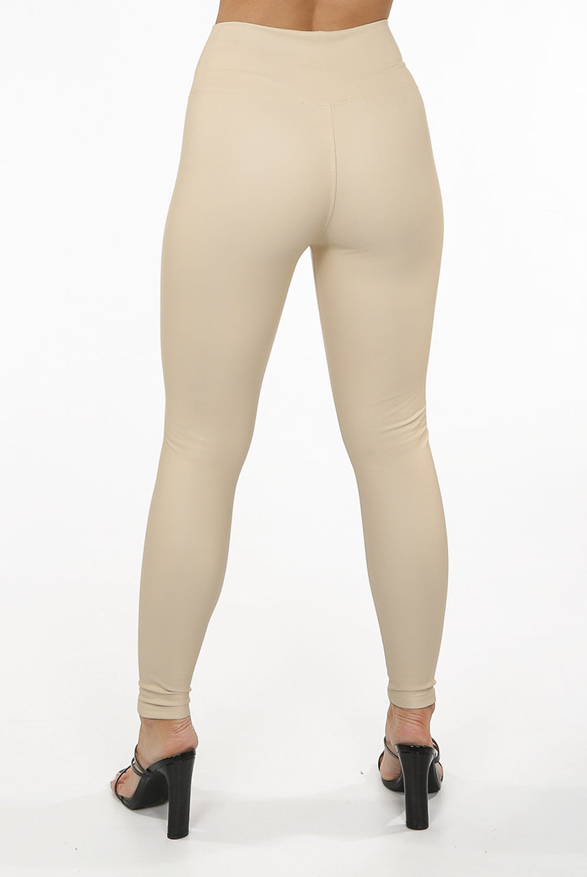 Beige High Waist Black Sleek PU Matt Leggings - Livia