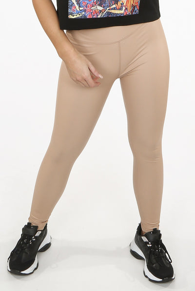 Nude High Waist Black Sleek PU Matt Leggings - Livia
