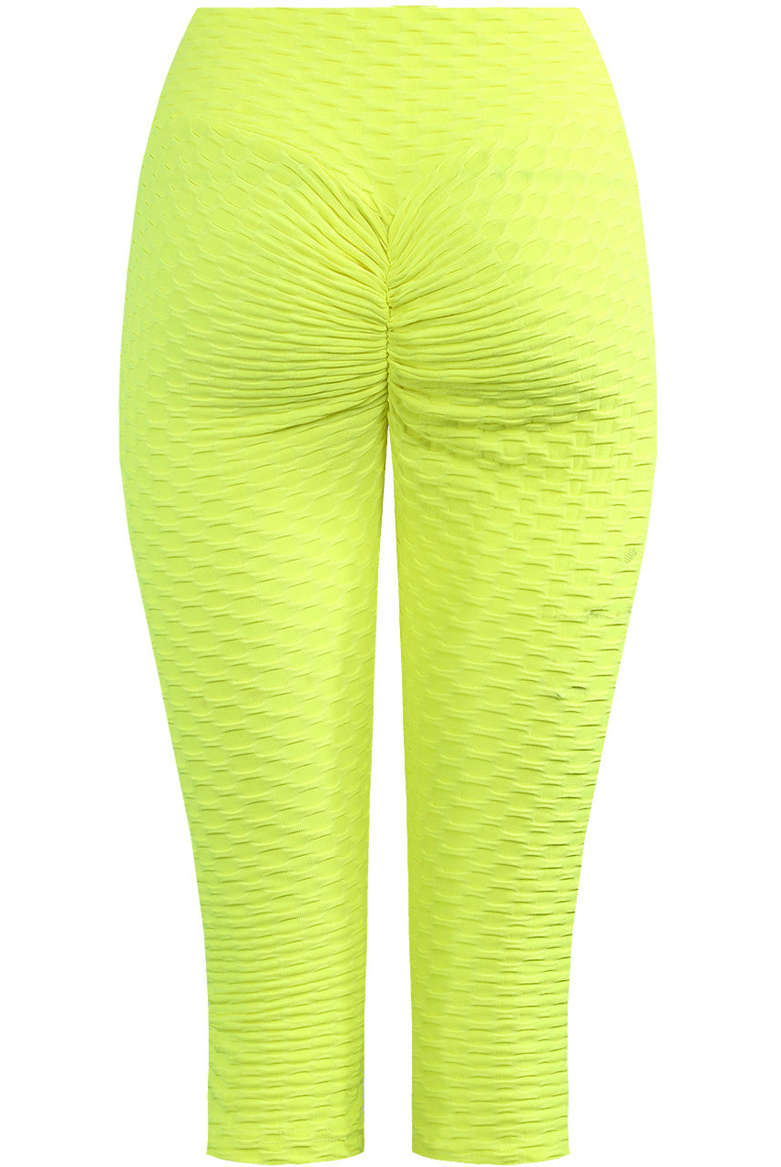 Neon yellow Textured Stretch Cycling Shorts - Lucia