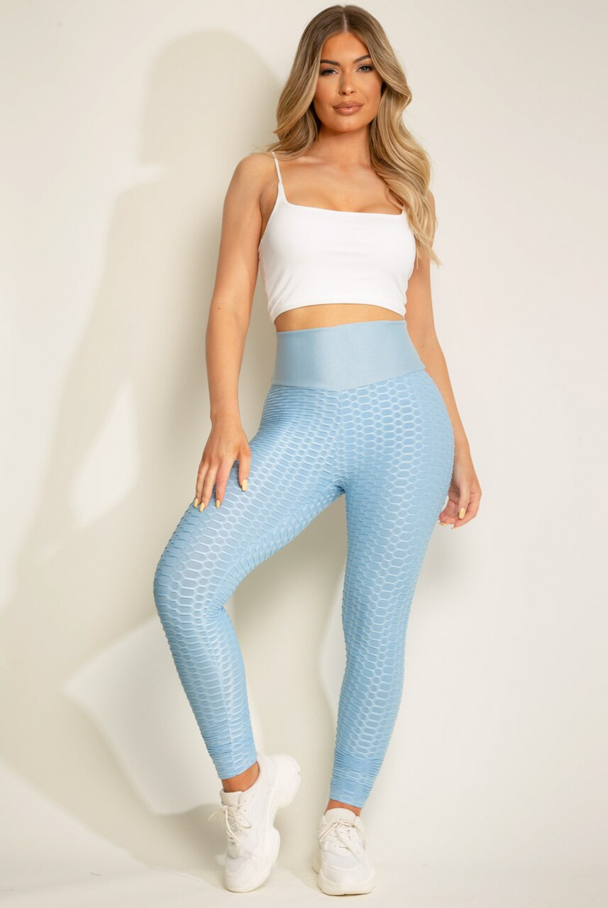 Blue Back Knot Waffle Sport Leggings - Lucia