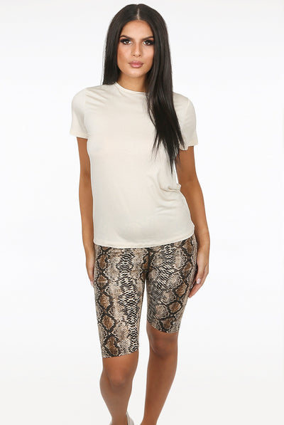 Beige Reptile Print Cycling Shorts - Vanessa