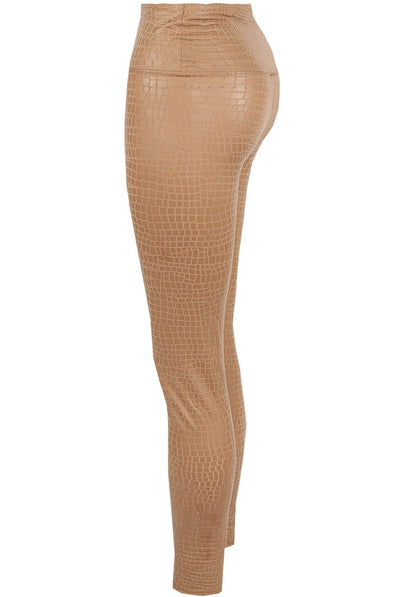 Beige Reptile Textured Pu High Waist Leggings - Janine