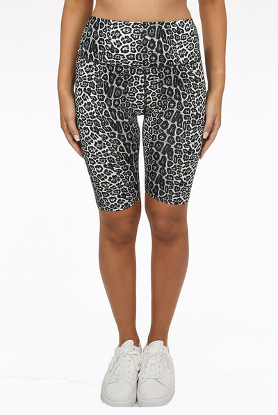 Grey Cheetah Print Cycling Shorts - Vanessa
