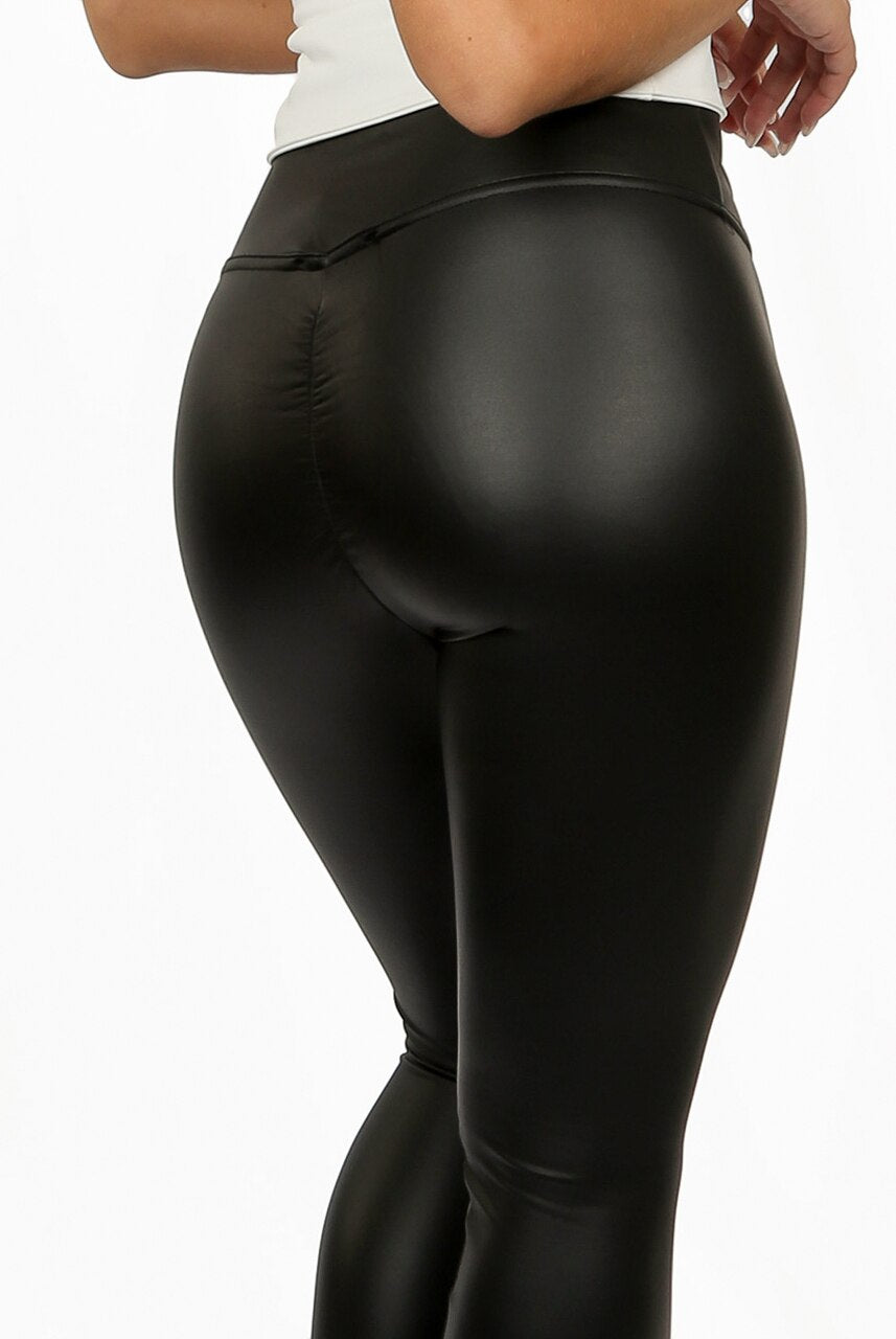 Black Ruched Faux Leather leggings - Daniella