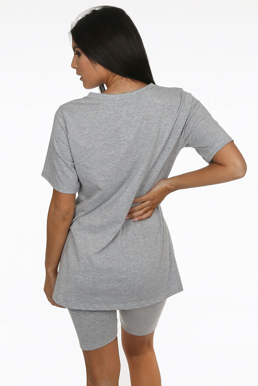 Grey Round Neck Cycling Shorts Loungewear Set - Addilyn