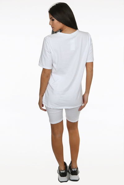 White Round Neck Cycling Shorts Loungewear Set - Addilyn
