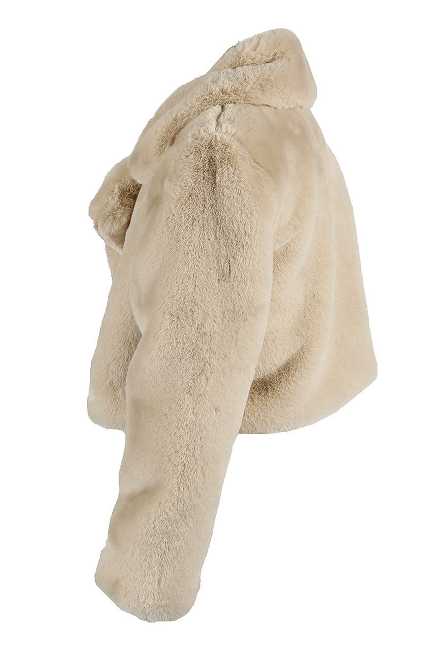 Light Beige Lux Teddy Faux Fur Soft Crop Jacket - Charlee