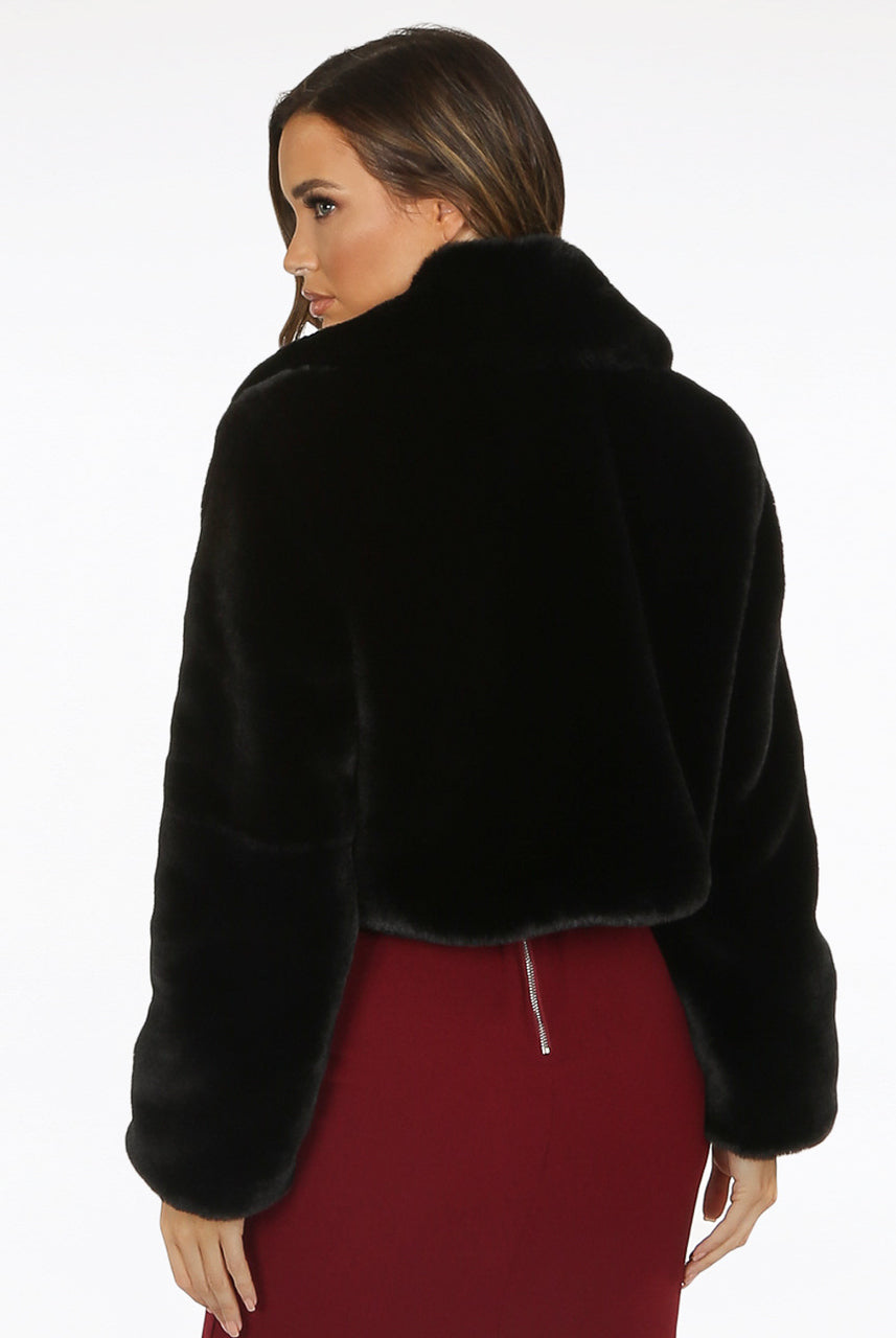 Black Teddy Faux Fur Soft Crop Jacket - Francine