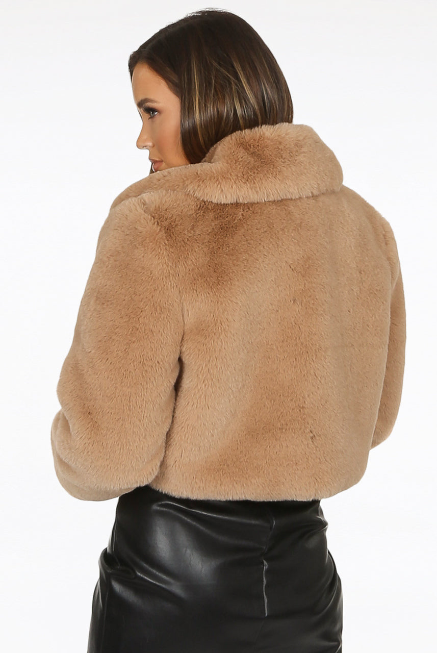 Beige Teddy Faux Fur Crop Jacket - Francine