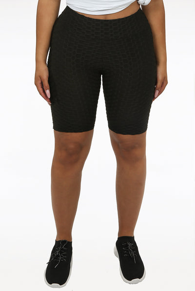 Black Textured Active Cycling Shorts - Aniyah
