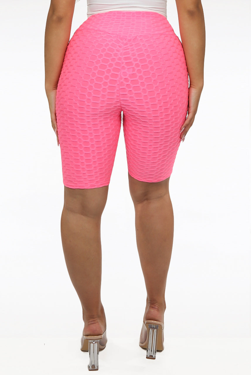 Neon Pink Textured Bum Lift Active Shorts - Harmony
