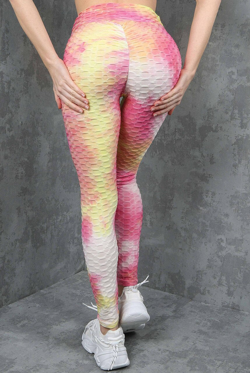 Pink Tie Dye Ruched Textured Active leggings - Daniella