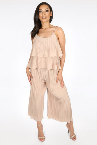 Beige Pleated Tier Top Wide Leg Trouser Cord Set - Finley