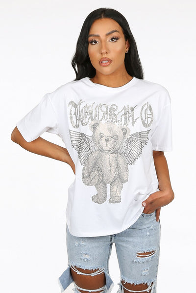 White Diamante Embellished Angel Teddy Top - Elsie