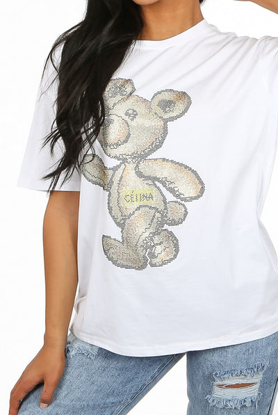 White Diamante Embellished Walking Teddy Top - Lola