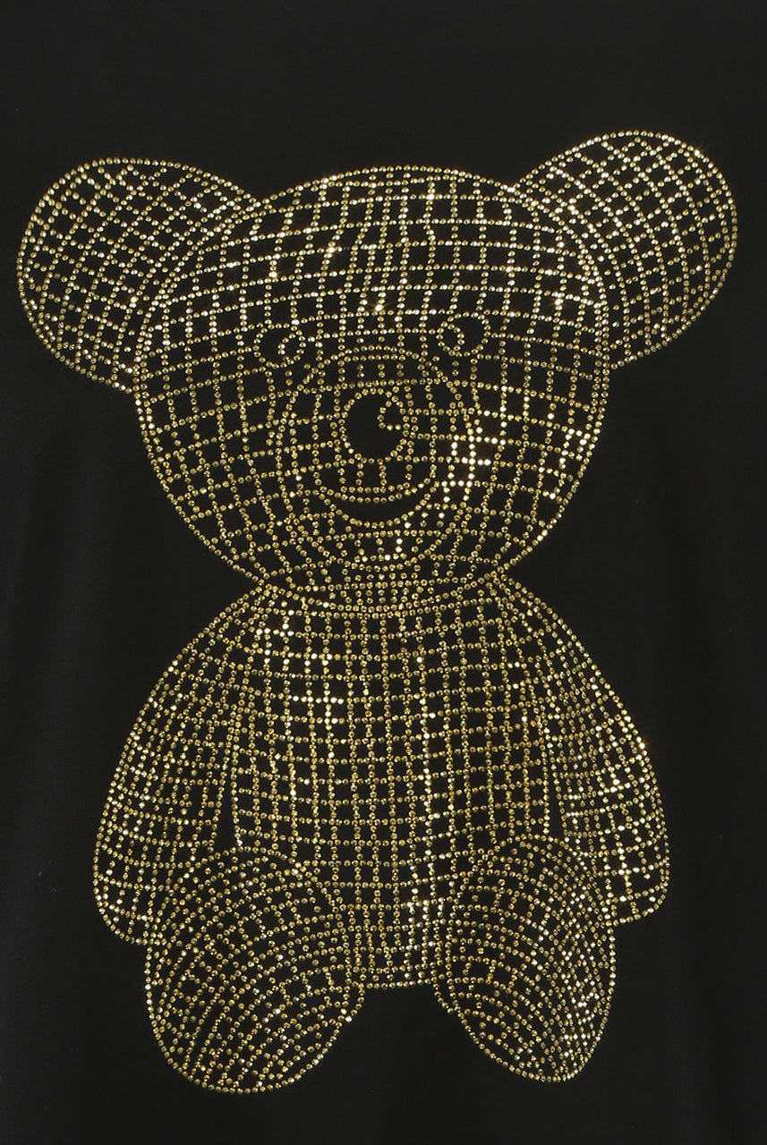 Black Gold Diamante Teddy T Shirt - Ivy