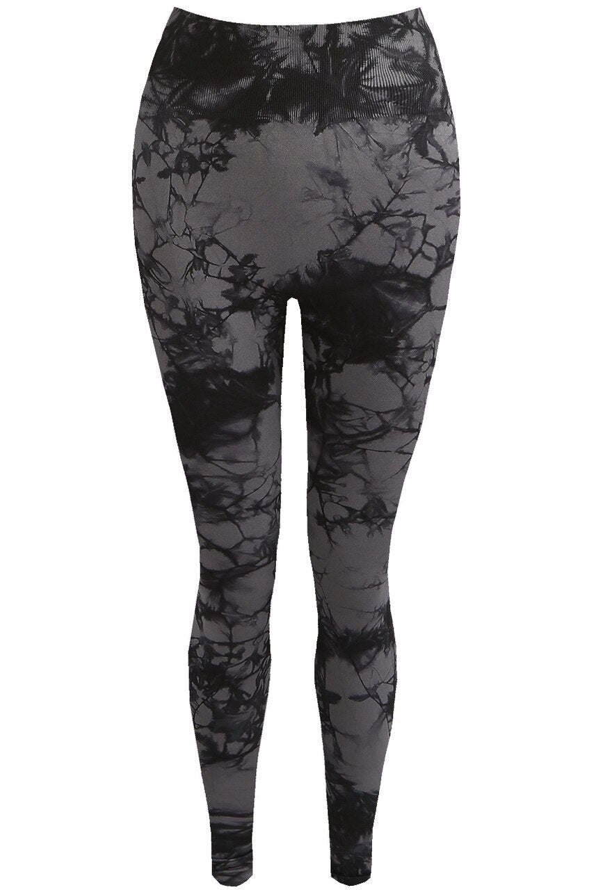 Black Tie Dye Print Bum Sculpt Leggings - Cecilia