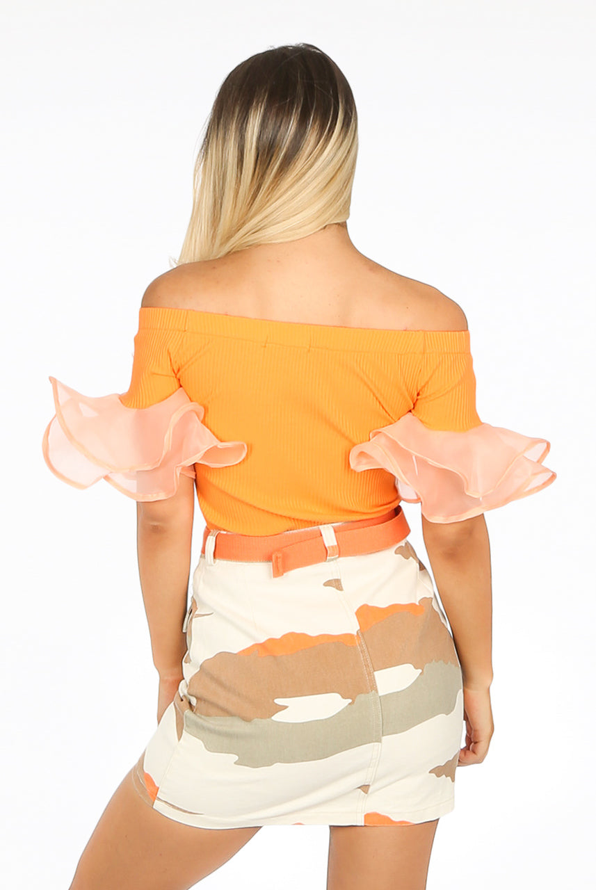 Orange Off Shoulder Ribbed Frill Sleeve Top - Valerie