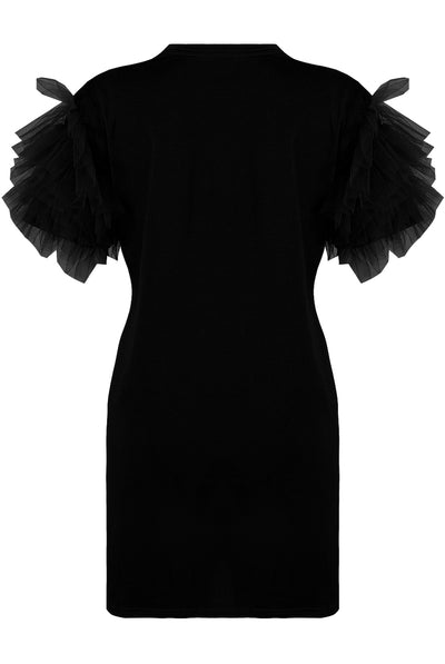 Black Tulle Sleeve T-shirt Dress - Suzy - storm desire