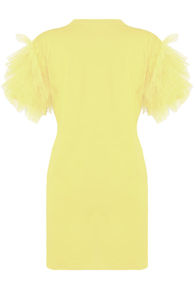 Yellow Tulle Sleeve T-shirt Dress - Suzy
