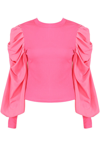 Pink Oversize Puff Sleeve Shell Ribbed Top - Courtney