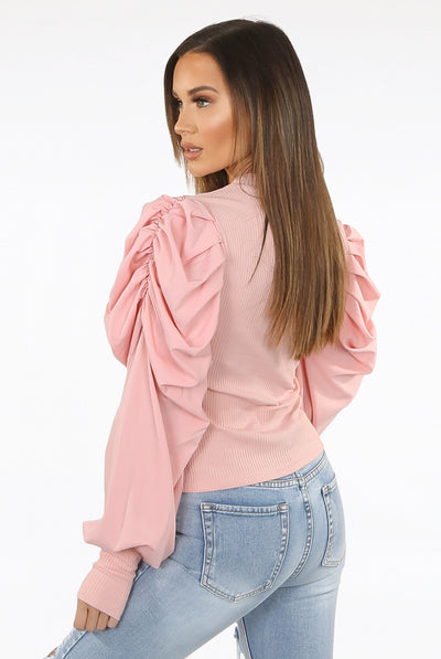 Baby Pink Oversize Puff Sleeve Shell Ribbed Top - Courtney