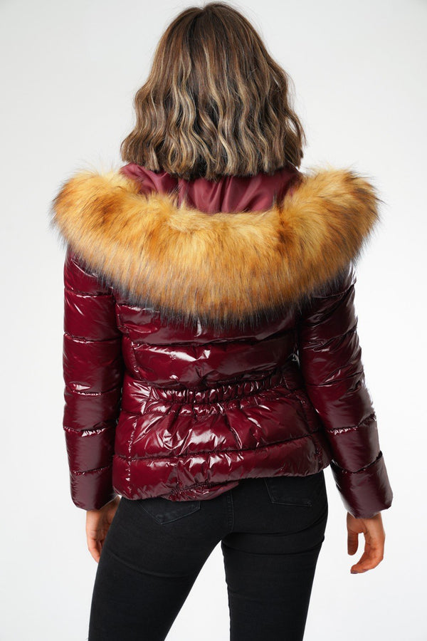 Burgundy Shiny Wet Look Faux Fur Hood Puffer Jacket Zara
