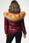 Burgundy Wine Shiny Wet look Faux Fur Hood Puffer Jacket - ZARA