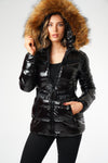 Black Shiny Wetlook Belted Faux Fur Hood Quilted Puffer Jacket - Zara - storm desire