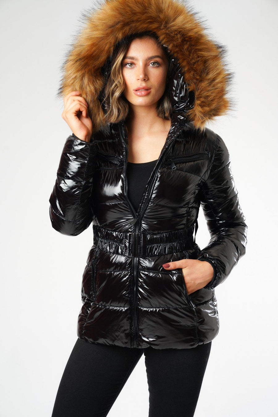 Black Shiny Wetlook Belted Faux Fur Hood Quilted Puffer Jacket - Zara