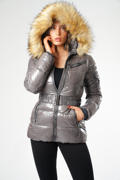 Grey Shiny Wetlook Belted Faux Fur Hood Quilted Puffer Jacket - Milly
