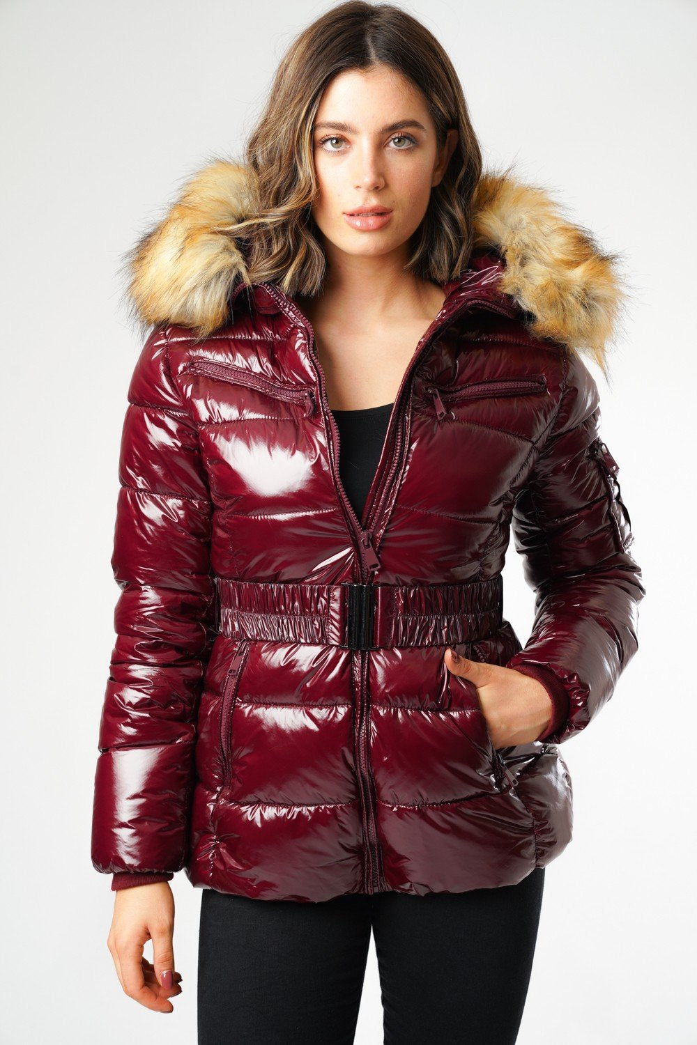Burgundy Shiny Wetlook Belted Faux Fur Hood Quilted Puffer