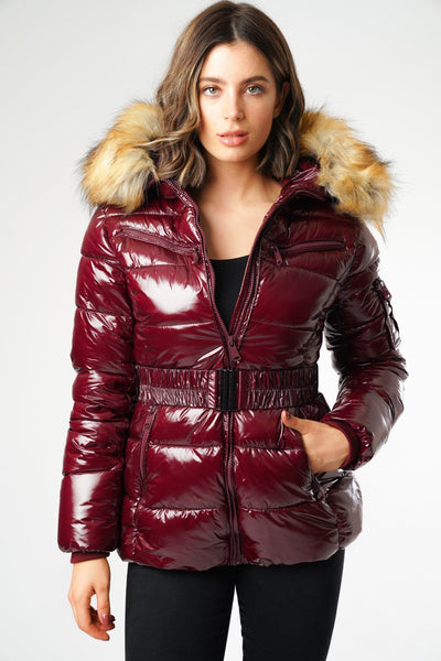 Burgundy Shiny Wetlook Belted Faux Fur Hood Quilted Puffer Jacket - Zara