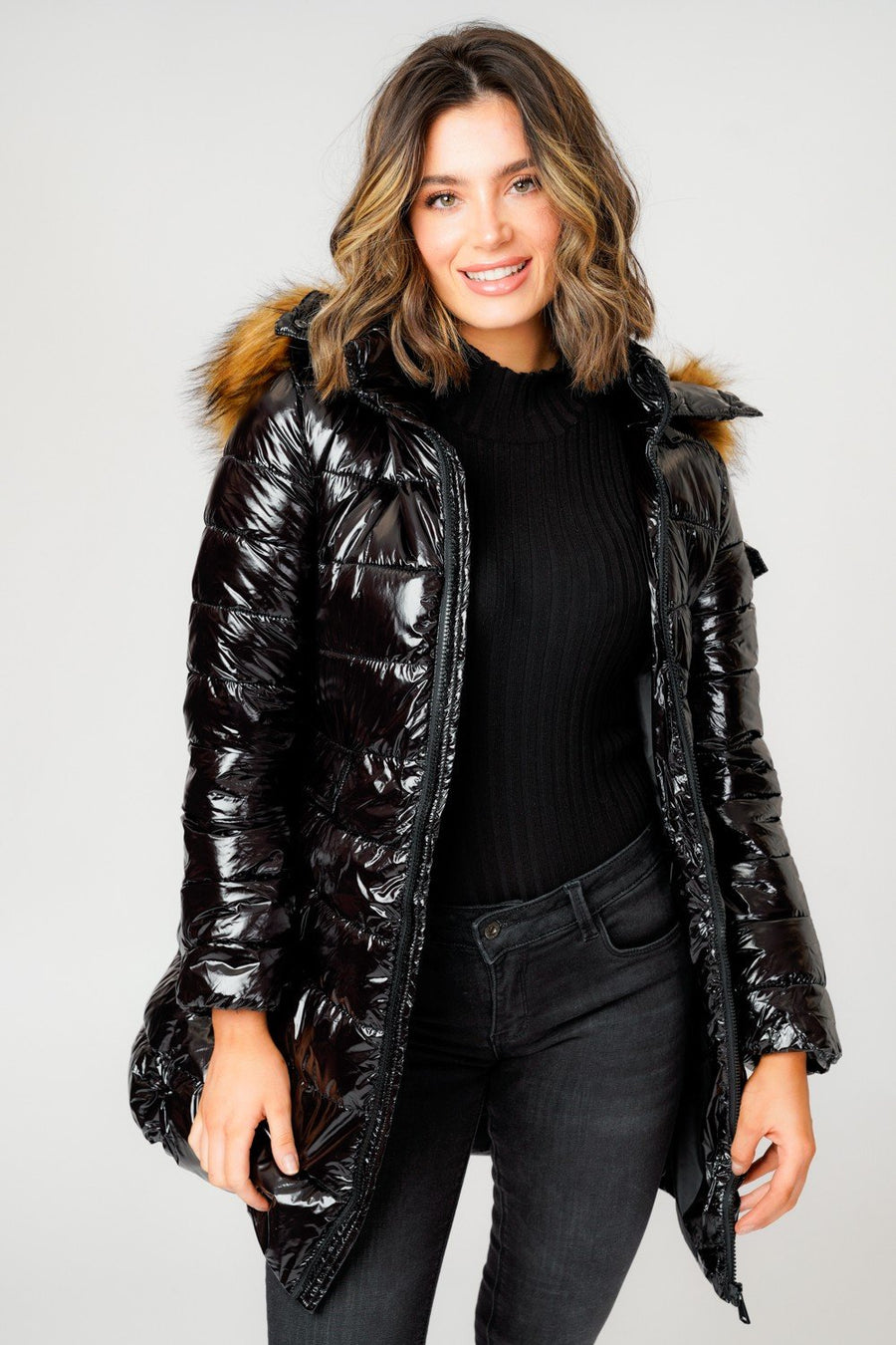 Black Long Line Shiny Faux Fur Hood Puffer Quilted Jacket - Lola