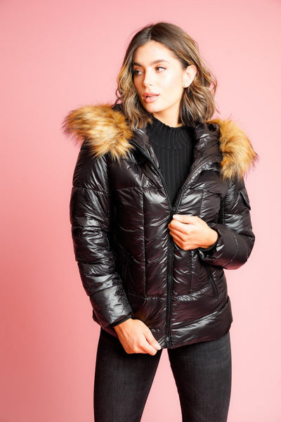 Black Shiny Faux Fur Hood Puffer Quilted Jacket - Vanessa