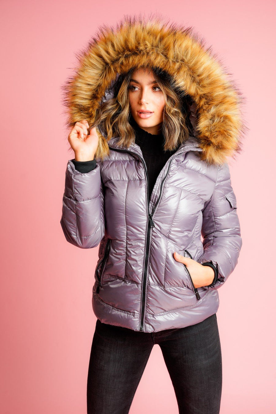 Grey Shiny Faux Fur Hood Puffer Quilted Jacket - Vanessa