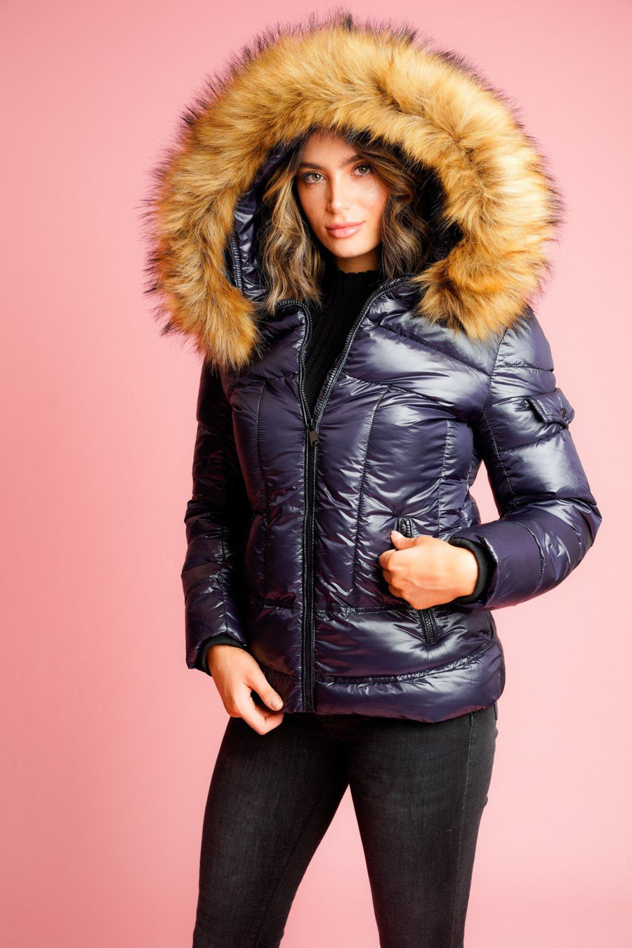 Navy Blue Shiny Faux Fur Hood Puffer Quilted Jacket - Vanessa